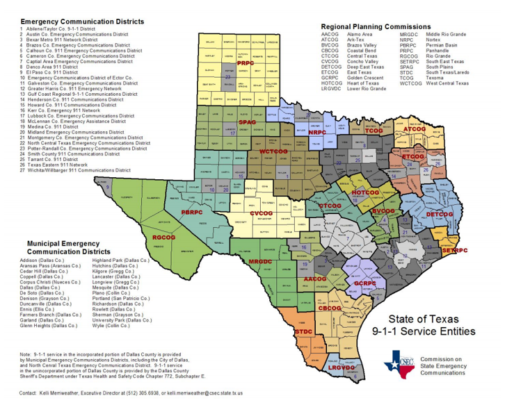 Texas 9-1-1 Entities Map