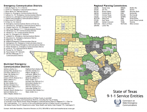 map of 911 authorities in texas